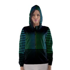 Abstract Multicolor Rainbows Circles Hooded Wind Breaker (Women)