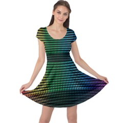 Abstract Multicolor Rainbows Circles Cap Sleeve Dresses