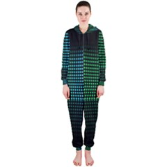 Abstract Multicolor Rainbows Circles Hooded Jumpsuit (Ladies)