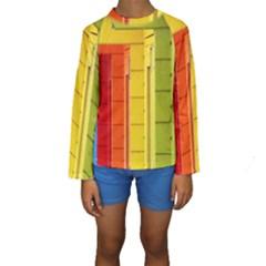 Abstract Minimalism Architecture Kids  Long Sleeve Swimwear