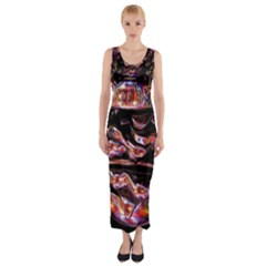Hamburgers Digital Art Colorful Fitted Maxi Dress
