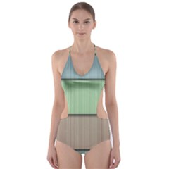 Lines Stripes Texture Colorful Cut-Out One Piece Swimsuit