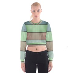 Lines Stripes Texture Colorful Women s Cropped Sweatshirt