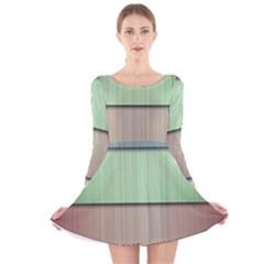 Lines Stripes Texture Colorful Long Sleeve Velvet Skater Dress