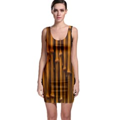 Abstract Bamboo Sleeveless Bodycon Dress