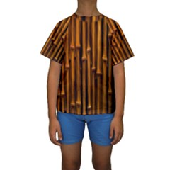 Abstract Bamboo Kids  Short Sleeve Swimwear