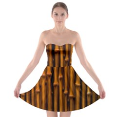 Abstract Bamboo Strapless Bra Top Dress