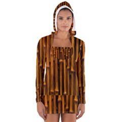 Abstract Bamboo Women s Long Sleeve Hooded T-shirt