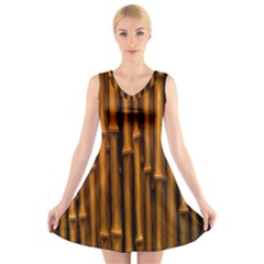 Abstract Bamboo V Neck Sleeveless Skater Dress