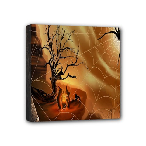 Digital Art Nature Spider Witch Spiderwebs Bricks Window Trees Fire Boiler Cliff Rock Mini Canvas 4  X 4