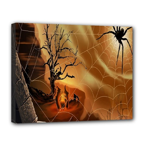 Digital Art Nature Spider Witch Spiderwebs Bricks Window Trees Fire Boiler Cliff Rock Canvas 14  X 11