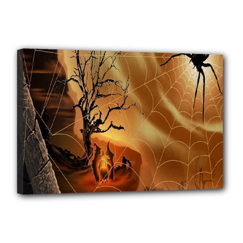 Digital Art Nature Spider Witch Spiderwebs Bricks Window Trees Fire Boiler Cliff Rock Canvas 18  X 12