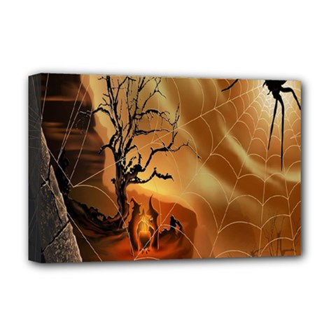 Digital Art Nature Spider Witch Spiderwebs Bricks Window Trees Fire Boiler Cliff Rock Deluxe Canvas 18  x 12