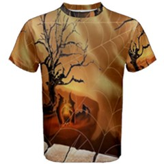 Digital Art Nature Spider Witch Spiderwebs Bricks Window Trees Fire Boiler Cliff Rock Men s Cotton Tee