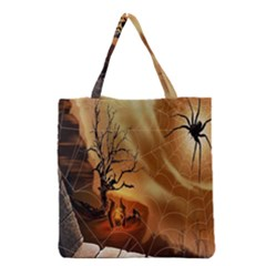Digital Art Nature Spider Witch Spiderwebs Bricks Window Trees Fire Boiler Cliff Rock Grocery Tote Bag