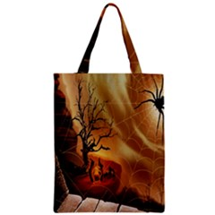 Digital Art Nature Spider Witch Spiderwebs Bricks Window Trees Fire Boiler Cliff Rock Classic Tote Bag