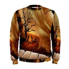 Digital Art Nature Spider Witch Spiderwebs Bricks Window Trees Fire Boiler Cliff Rock Men s Sweatshirt
