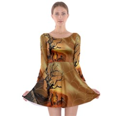 Digital Art Nature Spider Witch Spiderwebs Bricks Window Trees Fire Boiler Cliff Rock Long Sleeve Skater Dress