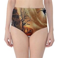 Digital Art Nature Spider Witch Spiderwebs Bricks Window Trees Fire Boiler Cliff Rock High-Waist Bikini Bottoms