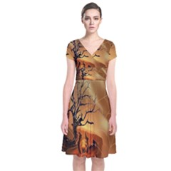 Digital Art Nature Spider Witch Spiderwebs Bricks Window Trees Fire Boiler Cliff Rock Short Sleeve Front Wrap Dress