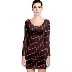 Lines Pattern Square Blocky Long Sleeve Bodycon Dress