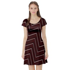 Lines Pattern Square Blocky Short Sleeve Skater Dress