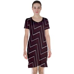 Lines Pattern Square Blocky Short Sleeve Nightdress