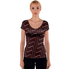 Lines Pattern Square Blocky Women s V-Neck Cap Sleeve Top
