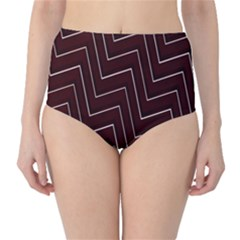 Lines Pattern Square Blocky High-Waist Bikini Bottoms