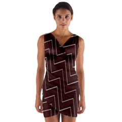 Lines Pattern Square Blocky Wrap Front Bodycon Dress