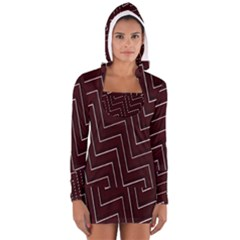 Lines Pattern Square Blocky Women s Long Sleeve Hooded T Shirt
