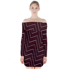 Lines Pattern Square Blocky Long Sleeve Off Shoulder Dress