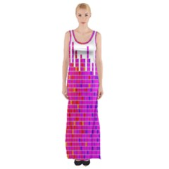 Square Spectrum Abstract Maxi Thigh Split Dress