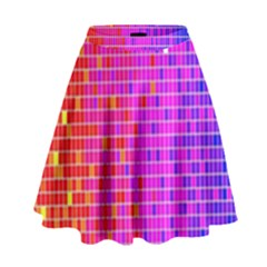 Square Spectrum Abstract High Waist Skirt