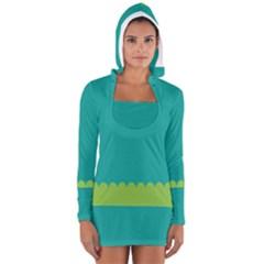 Green Blue Teal Scallop Wallpaper Wave Women s Long Sleeve Hooded T Shirt