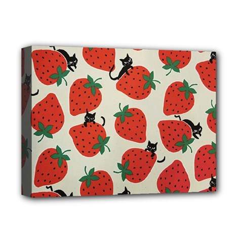 Fruit Strawberry Red Black Cat Deluxe Canvas 16  X 12