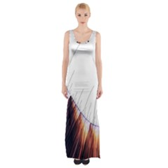 Abstract Lines Maxi Thigh Split Dress