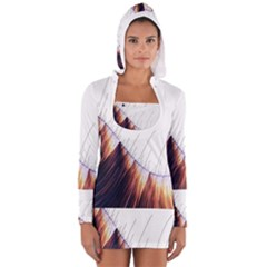 Abstract Lines Women s Long Sleeve Hooded T Shirt