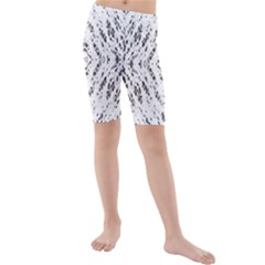 Pattern Monochrome Terrazzo Kids  Mid Length Swim Shorts
