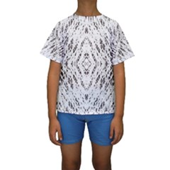Pattern Monochrome Terrazzo Kids  Short Sleeve Swimwear