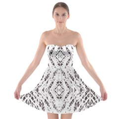 Pattern Monochrome Terrazzo Strapless Bra Top Dress