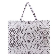 Pattern Monochrome Terrazzo Zipper Large Tote Bag