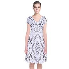 Pattern Monochrome Terrazzo Short Sleeve Front Wrap Dress