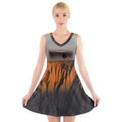 Rainbows Landscape Nature V-Neck Sleeveless Skater Dress