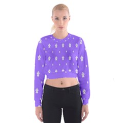 Light Purple Flowers Background Images Women s Cropped Sweatshirt