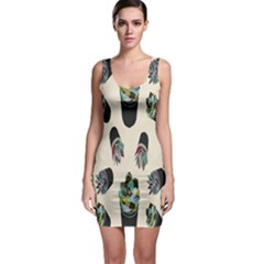 Succulent Plants Pattern Lights Sleeveless Bodycon Dress