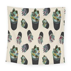 Succulent Plants Pattern Lights Square Tapestry (large)