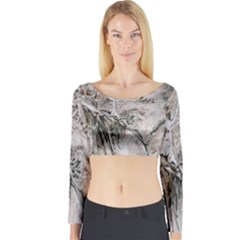 Earth Landscape Aerial View Nature Long Sleeve Crop Top
