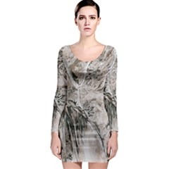 Earth Landscape Aerial View Nature Long Sleeve Bodycon Dress