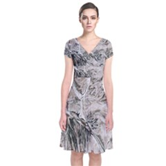 Earth Landscape Aerial View Nature Short Sleeve Front Wrap Dress